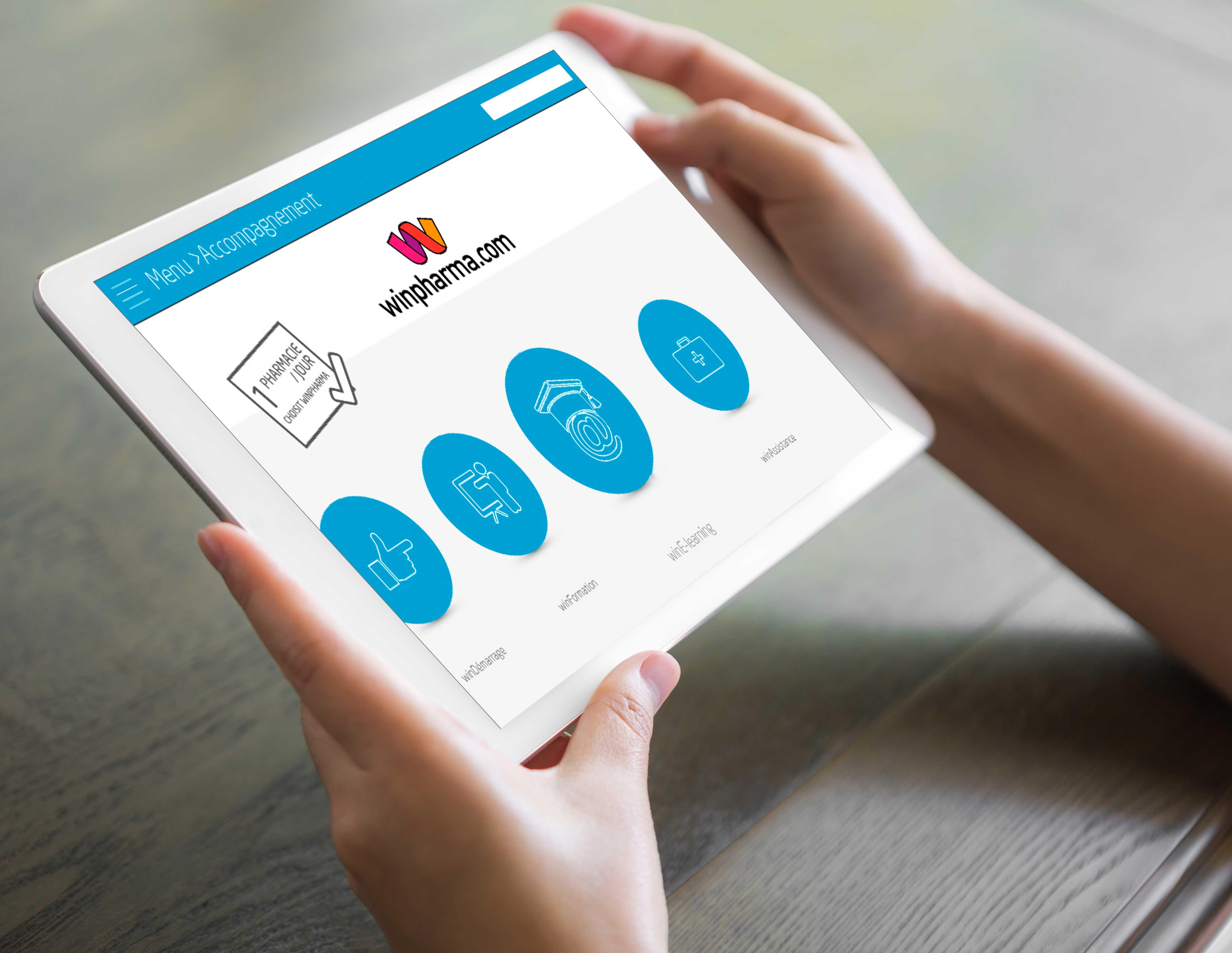 Application tablette Win-Pharma - graphisme et intégration