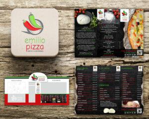 Projet-Emilio-Pizza // Dépliant - Logo - Devanture